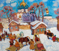 MOISSEY KOGAN (Russian, 1879-1943) Winter Scene Oil on canvas 25-3/4 x 30 inches (65.4 x 76.2 cm)