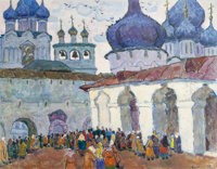 MOISSEY KOGAN (Russian, 1879-1943) Church Courtyard Oil on canvas board 28-1/2 x 36-1/2 inches (7