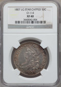 Bust Half Dollars, 1807 50C Capped Bust, Large Stars XF40 NGC. O-114, R.3....