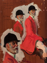 ALFRED JAMES MUNNINGS (British, 1878-1959) Study for Robins Bolitho, Esq. Oil on panel 16 x 11-3/