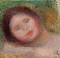 PIERRE-AUGUSTE RENOIR (French, 1841-1919) Etude de tête de jeune femme Oil on canvas 4-5/8 x 4-3/