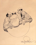 Prints:American, MAXFIELD PARRISH (American, 1870-1966). Three Wise Men ofGotham, from L. Frank Baum's Mother Goose in Prose. Offsetlit...