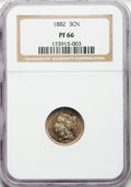 Proof Three Cent Nickels, 1882 3CN PR66 NGC. NGC Census: (280/60). PCGS Population (274/93).Mintage: 3,100. Numismedia Wsl. Price for problem free N...