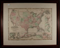 Books:Maps & Atlases, [Map]. Johnson's New Military Map of the United States.Johnson & Browning, 1861. Engraved map with hand-colorin...