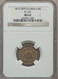 Shield Nickels, 1873 5C Doubled Die Obverse, Closed 3 MS62 NGC. FS-101....