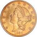 Liberty Double Eagles, 1866-S $20 No Motto AU50 PCGS....