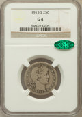 Barber Quarters: , 1913-S 25C Good 4 NGC. CAC. NGC Census: (77/170). PCGS Population (191/547). Mintage: 40,000. Numismedia Wsl. Price for pro...