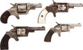Handguns:Single Action Revolver, Lot of Four Engraved Spur Trigger Single Action Pocket Revolvers.... (Total: 4 Items)