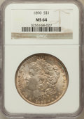 Morgan Dollars: , 1890 $1 MS64 NGC. NGC Census: (4076/303). PCGS Population(3555/443). Mintage: 16,802,590. Numismedia Wsl. Price forproble...