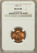Lincoln Cents, (6)1970 1C MS65 Red NGC. PCGS Population (163/295). Numismedia Wsl.Price for problem free NGC/PCGS coi... (Total: 6 coins)
