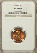 Lincoln Cents: , 1968-D 1C MS65 Red NGC. NGC Census: (132/264). PCGS Population(346/382). Numismedia Wsl. Price for problem free NGC/PCGS ...