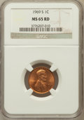 Lincoln Cents, (2)1969-S 1C MS65 Red NGC. NGC Census: (243/144). PCGS Population(218/179). Mintage: 547,309,632. Numismedia Wsl. Price fo...(Total: 2 coins)