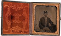Photography:Tintypes, Sixth Plate Civil War Tintype of a Young Federal Artilleryman....