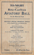 Military & Patriotic:WWI, WWI Era Ritz-Carlton Aviators' Ball Memorial Fund Poster....