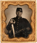 Photography:Tintypes, Very Nice Sixth Plate Civil War Tintype of a Federal Cavalryman....