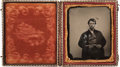 Photography:Tintypes, Exceptional Civil War Period Ruby Ambrotype of Armed Civilian,...
