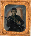 Photography:Tintypes, Early War Sixth Plate Tintype of a Federal Infantryman....