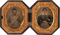 Photography:Tintypes, Pair of Very Nice Ninth Plate Civil War Tintypes of FederalInfantryman,...