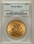Liberty Double Eagles: , 1898-S $20 MS63 PCGS. PCGS Population (3108/1343). NGC Census:(3697/1138). Mintage: 2,575,175. Numismedia Wsl. Price for p...