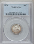 Seated Dimes: , 1876 10C MS64 PCGS. PCGS Population (76/78). NGC Census: (87/71).Mintage: 1,145,000. Numismedia Wsl. Price for problem fre...