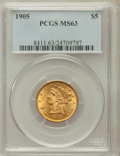 Liberty Half Eagles: , 1905 $5 MS63 PCGS. PCGS Population (333/195). NGC Census:(453/323). Mintage: 302,200. Numismedia Wsl. Price for problemfr...