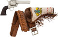 Handguns:Single Action Revolver, Colt Single Action Army Prop Revolver with Leather Beaded Holster....