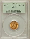 Liberty Quarter Eagles: , 1903 $2 1/2 MS63 PCGS. PCGS Population (1591/2172). NGC Census:(1287/2327). Mintage: 201,000. Numismedia Wsl. Price for pr...