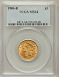 Liberty Half Eagles: , 1906-D $5 MS64 PCGS. PCGS Population (269/54). NGC Census:(342/66). Mintage: 320,000. Numismedia Wsl. Price for problem fr...
