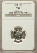 Proof Mercury Dimes: , 1940 10C PR66 NGC. NGC Census: (876/376). PCGS Population(901/317). Mintage: 11,827. Numismedia Wsl. Price for problemfre...
