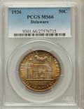 Commemorative Silver: , 1936 50C Delaware MS66 PCGS. PCGS Population (666/86). NGC Census:(474/94). Mintage: 20,993. Numismedia Wsl. Price for pro...