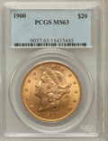 Liberty Double Eagles: , 1900 $20 MS63 PCGS. PCGS Population (10897/4203). NGC Census:(16560/4844). Mintage: 1,874,584. Numismedia Wsl. Price for p...