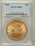 Liberty Double Eagles: , 1900 $20 MS63 PCGS. PCGS Population (10895/4200). NGC Census:(16523/4838). Mintage: 1,874,584. Numismedia Wsl. Price for p...