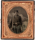 Photography:Tintypes, Exceptionally Nice Sixth Plate Civil War Tintype of FederalEnlisted Cavalryman....