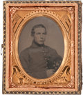 Photography:Tintypes, Ninth Plate Early War Tintype of a Member of the 12th New HampshireInfantry....