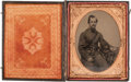 Photography:Tintypes, Great Quarter Plate Civil War Tintype of an Infantry Officer,...