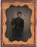 Photography:Tintypes, Early War Quarter Plate Tintype of a Young Federal Infantryman,...