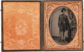 Photography:Ambrotypes, Great Early War Quarter Plate Ruby Ambrotype of Young FederalInfantryman,...