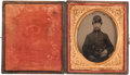 Photography:Tintypes, Sixth Plate Civil War Tintype of Armed Federal Infantryman, ...