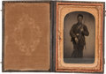 Photography:Tintypes, Civil War Tintype of an Armed Federal Infantryman....