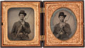 Photography:Tintypes, Great Pair of Early War Sixth Plate Tintypes of Young FederalInfantrymen,...