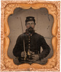 Photography:Tintypes, Sixth Plate Civil War Tintype of Federal Light Artilleryman....