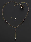 Estate Jewelry:Coin Jewelry and Suites, Vintage Garnet & cultured Pearl Necklace, Earrings & Ring. ... (Total: 3 Items)