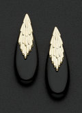 Estate Jewelry:Earrings, Black Onyx Gold Earrings. ...