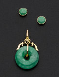 Estate Jewelry:Coin Jewelry and Suites, Green Jade Pendant & 18k Gold Earrings. ... (Total: 2 Items)