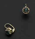 Estate Jewelry:Earrings, Vintage Deep Teal Colored Stone Gold Earrings. ...