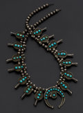 Estate Jewelry:Necklaces, Vintage Indian Sterling Turquoise Squash Blossom Necklace. ...
