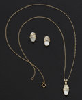 Estate Jewelry:Coin Jewelry and Suites, Mother Of Pearl Earrings & Pendant. ... (Total: 2 Items)