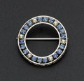 Estate Jewelry:Brooches - Pins, Sapphire & Cultured Pearl Circle Brooch. ...