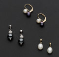 Estate Jewelry:Earrings, Three Pair Of Cultured & Freshwater Pearl Gold Earrings. ...(Total: 3 Items)