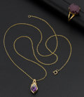 Timepieces:Other , Ruby Gold Ring & Amethyst Necklace. ... (Total: 2 Items)